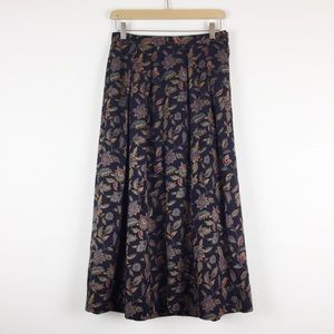 Vintage dark floral midi skirt full skirt navy